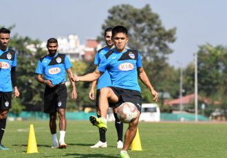 Sunil Chhetri during Bengaluru FC's training session ahead of their clash against Mumbai City FC. (Photo courtesy: Bengaluru FC)