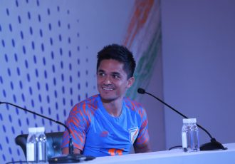 Indian national team striker Sunil Chhetri during a press conference in New Delhi. (Photo courtesy: AIFF Media)