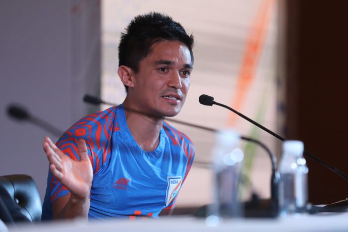 Indian national team star striker Sunil Chhetri during a press conference in New Delhi. (Photo courtesy: AIFF Media)
