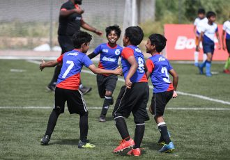 Match action on Day 1 of the BOOST BFC Inter-School Soccer Shield 2019 at the Bangalore Football Stadium. (Photo courtesy: Bengaluru FC)