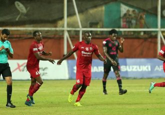 Anthony Wolfe celebrating one of his goals for Churchill Brothers in the Hero I-League. (Photo courtesy: AIFF Media)