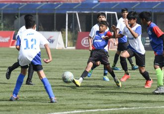 Match action on Day 4 of the BOOST BFC Inter-School Soccer Shield 2019. (Photo courtesy: Bengaluru FC)