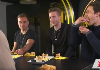 Borussia Dortmund stars Mario Götze, Marco Reus and Thomas Delaney during the Rügenwalder Mühle veggie taste test. (Photo courtesy: Screenshot - Borussia Dortmund YouTube video)