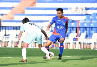 Bengaluru FC midfielder Boithang Haokip in action against J&K Bank Football Team in a friendly game at the Sree Kanteerava Stadium in Bengaluru. (Photo courtesy: Bengaluru FC)