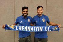 Chennaiyin FC's new signings CK Vineeth and Halicharan Narzary. (Photo courtesy: Chennaiyin FC)