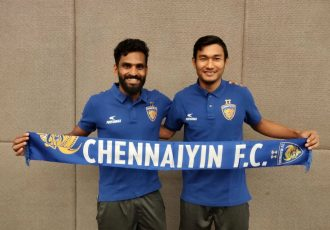 Chennaiyin FC's new signings CK Vineeth and Halicharan Narzary. (Photo courtesy: Chennaiyin FC)