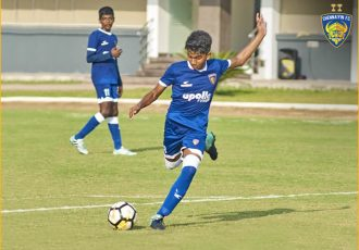 Mohamed Liyaakath in action for the Chennaiyin FC U-15 team. (Photo courtesy: Chennaiyin FC)