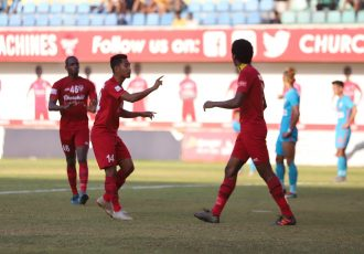 Churchill Brothers players celebrating one of their goals against the Indian Arrows in a Hero I-League encounter. (Photo courtesy: AIFF Media)