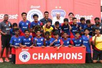 The Delhi Public School East U-14 team celebrating their 2019 BOOST BFC Inter-School Soccer Shield title. (Photo courtesy: Bengaluru FC)