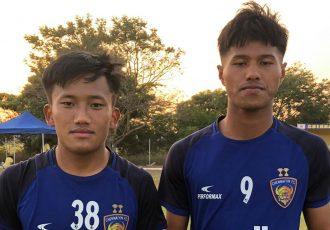 Chennaiyin FC B goalscorer Joysana Singh (left) with teammate Bawlte Rohmingthanga. (Photo courtesy: Chennaiyin FC)