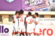 Shillong Lajong FC players celebrating their win in the Hero I-League. (Photo courtesy: AIFF Media)