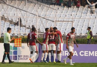 Mohun Bagan AC players celebrating a goal in the Hero I-League. (Photo courtesy: AIFF Media)