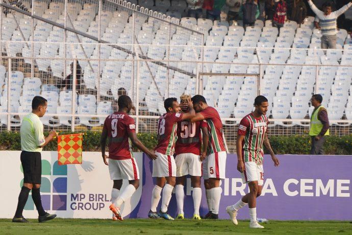 Mohun Bagan AC players celebrating a goal in the Hero I-League. (Photo courtesy: AIFF Media)