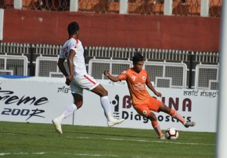 Hero I-League match action between NEROCA FC and Aizawl FC. (Photo courtesy: AIFF Media)