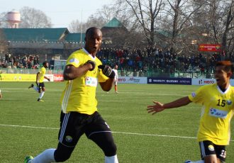 Real Kashmir FC's Gnohere Krizo celebrating his goal in the Hero I-League. (Photo courtesy: AIFF Media)