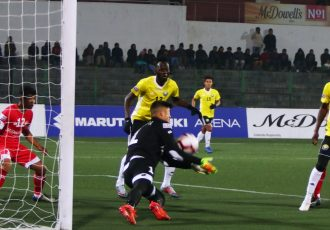 Hero I-League match action between Shillong Lajong FC and Real Kashmir FC. (Photo courtesy: AIFF Media)