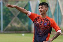Midfielder Siam Hanghal during a Delhi Dynamos trainig session. (Photo courtesy: Delhi Dynamos FC)