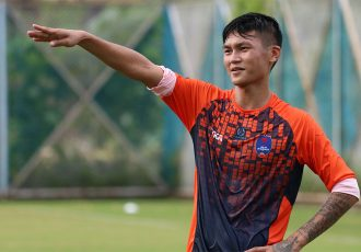 Midfielder Siam Hanghal during a Delhi Dynamos trainig session. (Photo courtesy: Delhi Dynamos FC)