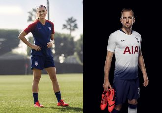 United States Women's national team star Alex Morgan and England striker Harry Kane with the Nike PhantomVNM football boot. (Photo courtesy: Nike)