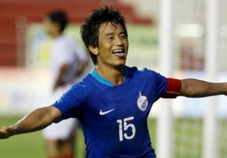 Baichung Bhutia in action for the Indian national team. (Photo courtesy: AIFF Media)