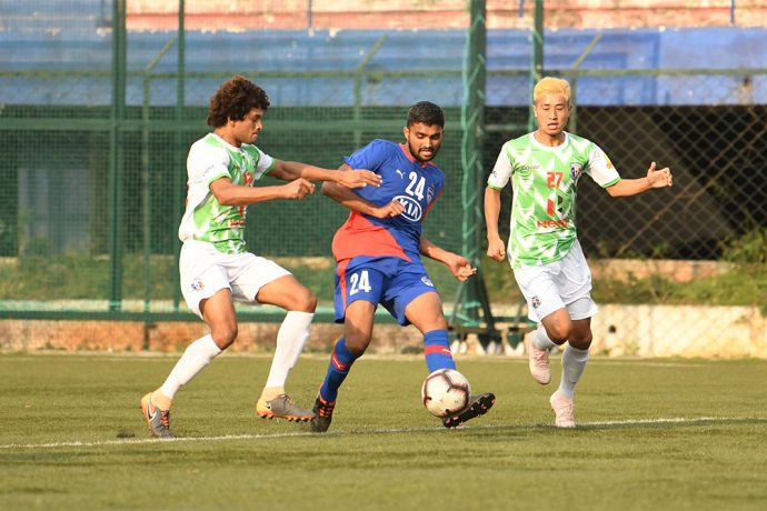 Bengaluru FC B defender and goalscorer Parag Shrivas in action against Hindustan FC in the Hero 2nd Division League at the Bengaluru Football Stadium. (Photo courtesy: Bengaluru FC)