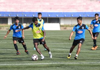 Bengaluru FC B's training session at the Bengaluru Football Stadium ahead of their Hero 2nd Division League clash. (Photo courtesy: Bengaluru FC)