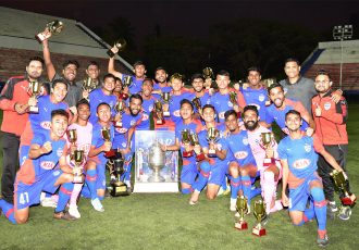 Bengaluru FC B Team players and officials celebrate the 2018/19 BDFA Super Division League title. (Photo courtesy: Bengaluru FC)