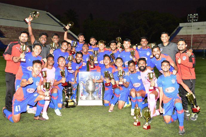 Bengaluru FC B Team players and officials celebrate the 2018/19 BDFA Super Division League title. (Photo courtesy: Bengaluru FC)