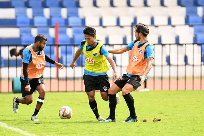 Bengaluru FC training session at the Sree Kanteerava Stadium. (Photo courtesy: Bengaluru FC)