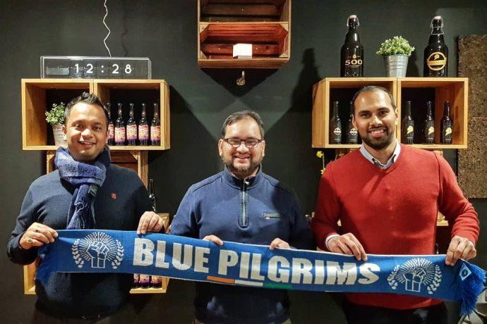 "Krish Roy, Arunava Chaudhuri and Chris Punnakkattu Daniel send out their best wishes to the ""Blue Pilgrims"". (© arunfoot / CPD Football / GFA)"