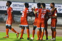 Chennai City FC players celebrate their win in the Hero I-League. (Photo courtesy: AIFF Media)