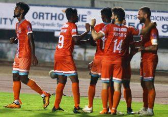 Chennai City FC players celebrate their win in the Hero I-League. (Photo courtesy: AIFF Media)