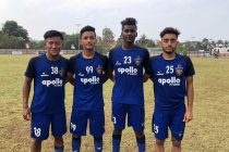 Chennaiyin FC U-18 players Joysana Singh, Aman Chetri, Vijay Thangavel and Kartik Nayyar. (Photo courtesy: Chennaiyin FC)
