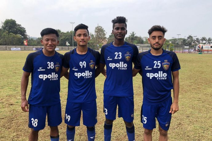 Chennaiyin FC U-18 players Joysana Singh, Aman Chetri, Vijay Thangavel and Kartik Nayyar. (Photo courtesy: Chennaiyin FC)