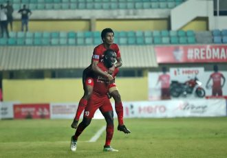 Churchill Brothers players celebrating their win in the Hero I-League. (Photo courtesy: AIFF Media)