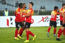 East Bengal FC's Jaime Colado celebrating one of his goals in the Hero I-League. (Photo courtesy: AIFF Media)