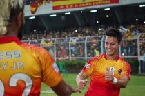 Jaime Santos Colado and Jobby Justin celebrating East Bengal's Kolkata Derby win against Mohun Bagan in the Hero I-League. (Photo courtesy: AIFF Media)