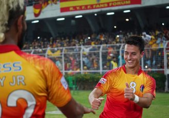 Jaime Santos Colado and Jobby Justin celebrating East Bengal's Kolkata Derby win against Mohun Bagan in the Hero I-League. (Photo courtesy: AIFF Media)