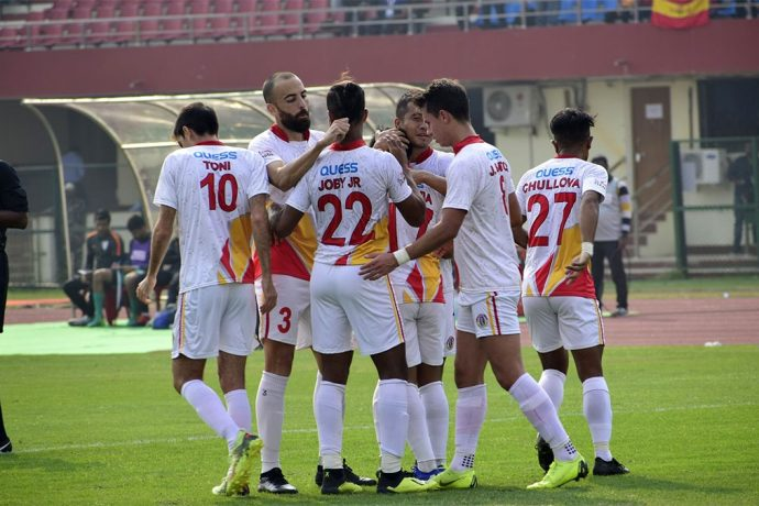 East Bengal players celebrating one of their Hero I-League goals. (Photo courtesy: AIFF Media)