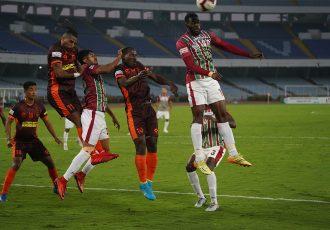 Hero I-League match action between Mohun Bagan AC and Gokulam Kerala FC. (Photo courtesy: AIFF Media)