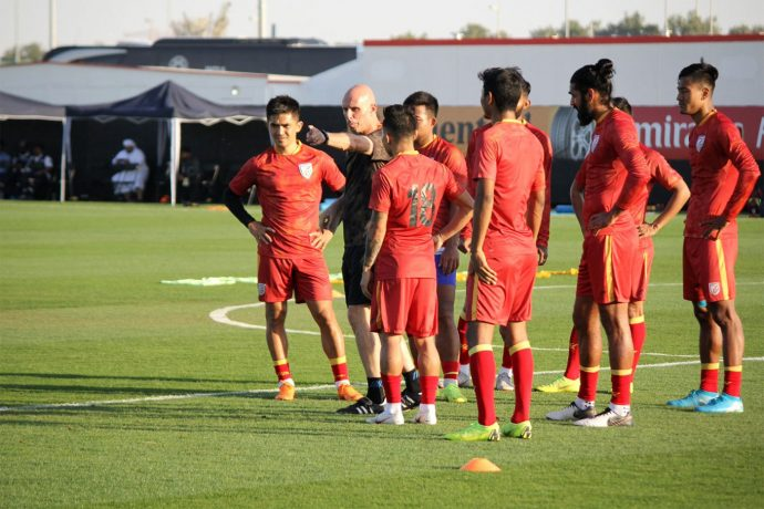 Indian national team training session ahead of the AFC Asian Cup UAE 2019 opener against Thailand. (Photo courtesy: AIFF Media)
