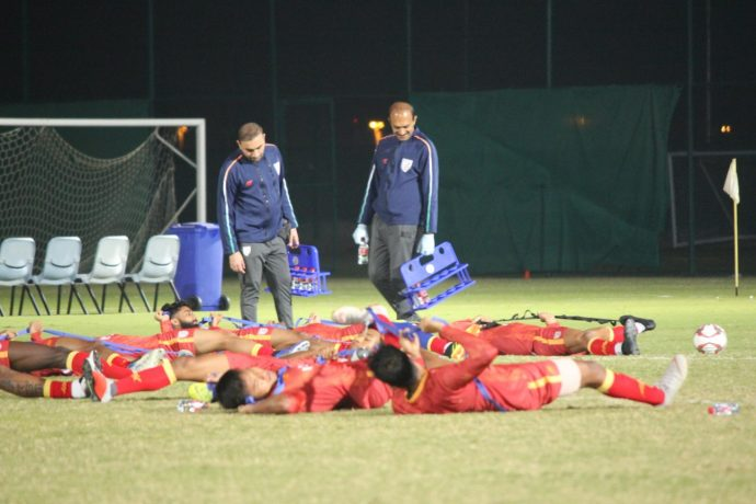 The medical staff monitoring the Indian national team's training session. (Photo courtesy: AIFF Media)