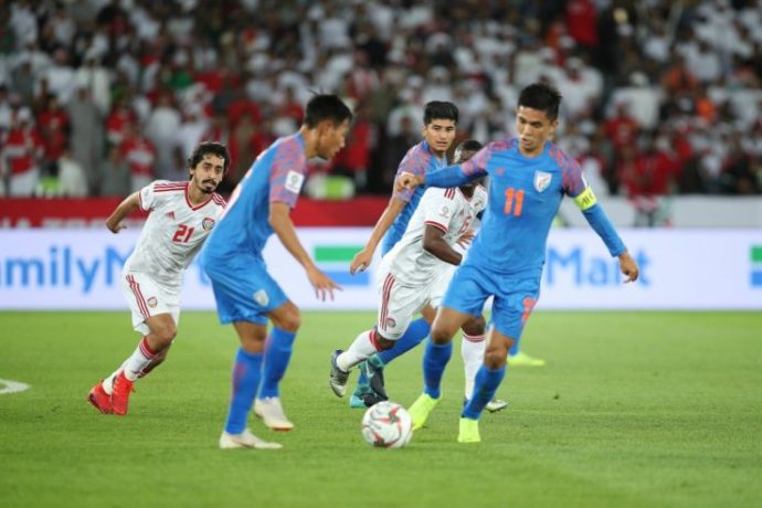 Indian national team captain Sunil Chhetri in action against the UAE in the AFC Asian Cup UAE 2019. (Photo courtesy: The Asian Football Confederation)