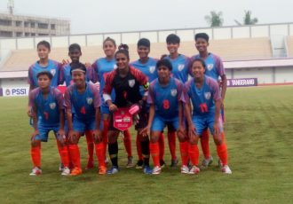 The Indian Women's national team moments before their friendly match against Indonesia. (Photo courtesy: AIFF Media)