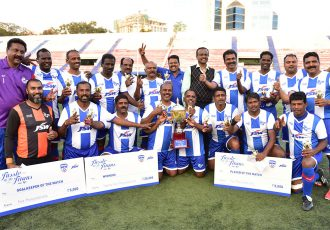 Indian Telephone Industries FC (ITI) players celebrating their win in the 'Tussle of the Titans' exhibition game at the Bangalore Football Stadium. (Photo courtesy: Bengaluru FC)