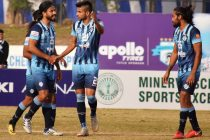 Minerva Punjab FC players during their Hero I-League match. (Photo courtesy: AIFF Media)