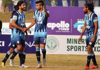Minerva Punjab FC players during their Hero I-League match. (Photo courtesy: AIFF Media)