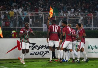 Mohun Bagan AC players celebraing one of their goals in the Hero I-League. (Photo courtesy: AIFF Media)