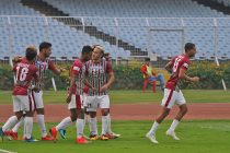 Mohun Bagan AC players celebrating their win in the Hero I-League. (Photo courtesy: AIFF Media)