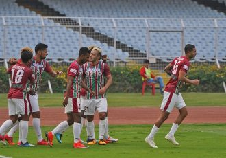 Mohun Bagan AC players celebrating their win in the Hero I-League. (Photo courtesy: AIFF Media)